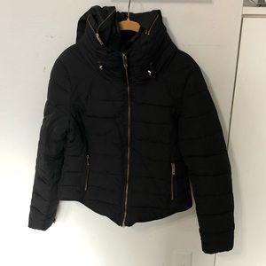 Zara Black Puffers  Hooded Jacket